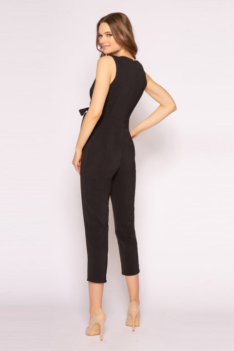Black Sleeveless Tie Waist Jumpsuit by Lavender Brown 002