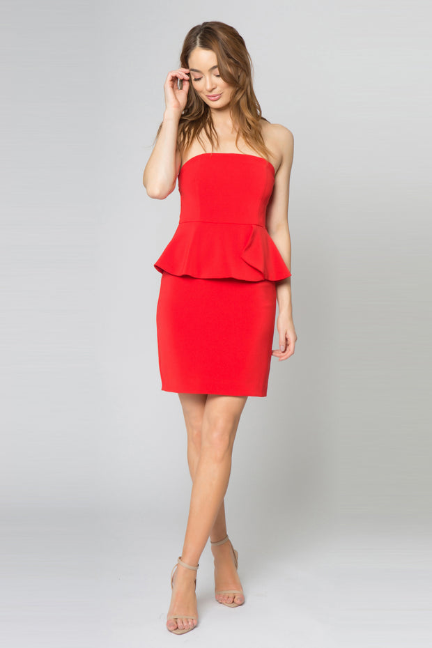 Coral Red Strapless Ruffle Waist Bodycon Dress by Lavender Brown 001