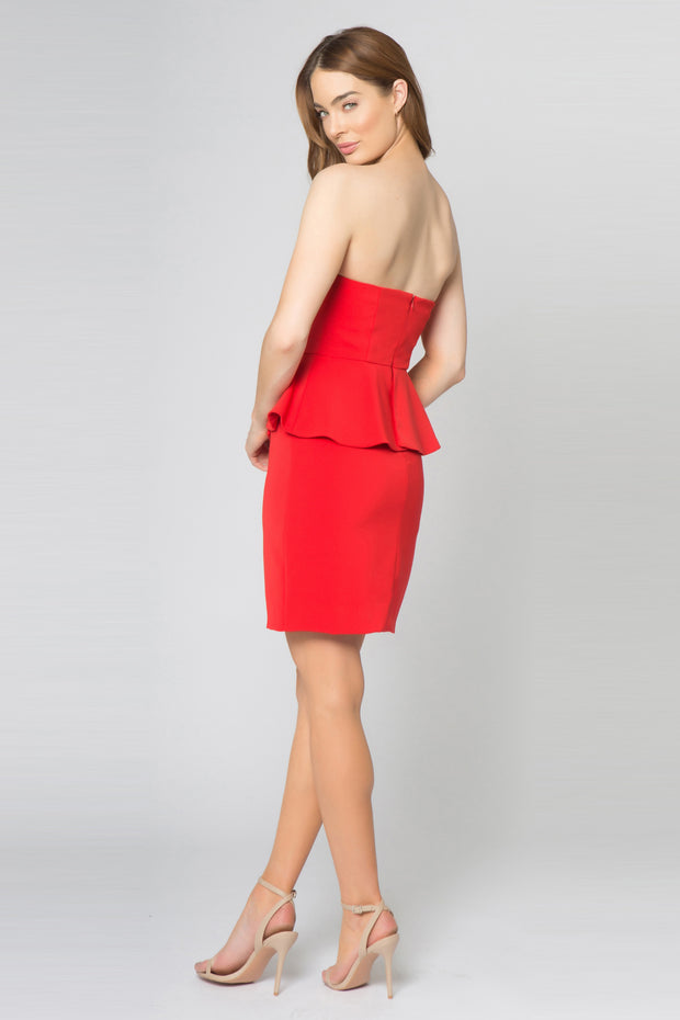 Coral Red Strapless Ruffle Waist Bodycon Dress by Lavender Brown 002