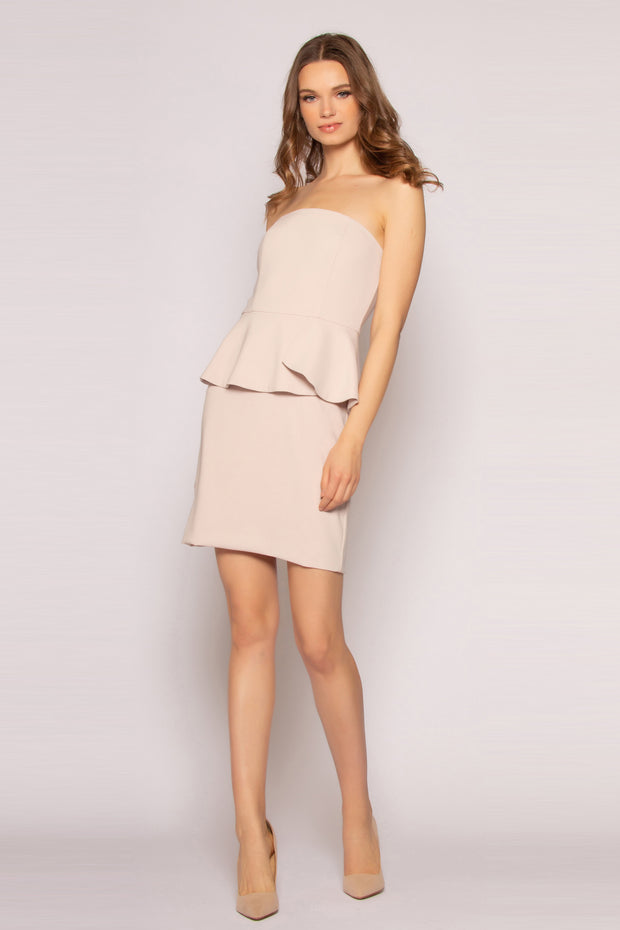 Taupe Strapless Ruffle Waist Bodycon Dress by Lavender Brown 001