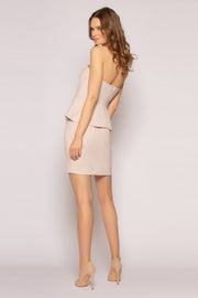 Taupe Strapless Ruffle Waist Bodycon Dress by Lavender Brown 002