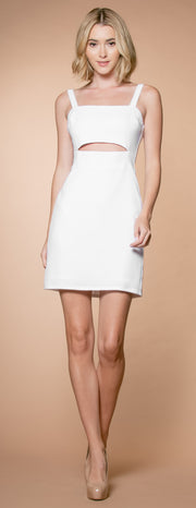 Ivory A-Line Keyhole Dress by Lavender Brown 001