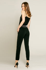 Black Contrast Jogger Pants by Lavender Brown 002