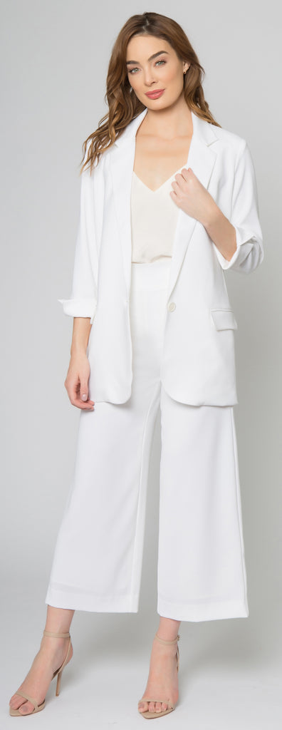 Ivory Single Button Crepe Blazer by Lavender Brown 001