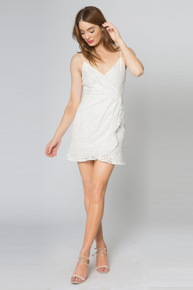 Ivory Adjustable Strap Faux Wrap Eyelet Dress by Lavender Brown 001