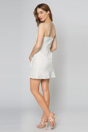 Ivory Adjustable Strap Faux Wrap Eyelet Dress by Lavender Brown 002