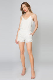 Ivory Cotton Eyelet Pull-On Shorts by Lavender Brown 001