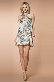 Ivory Sleeveless Overlay Floral Tank Dress by Lavender Brown 001