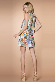 Ivory Sleeveless Overlay Floral Tank Dress by Lavender Brown 002