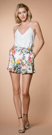 Ivory Floral Paperbag Shorts by Lavender Brown 001