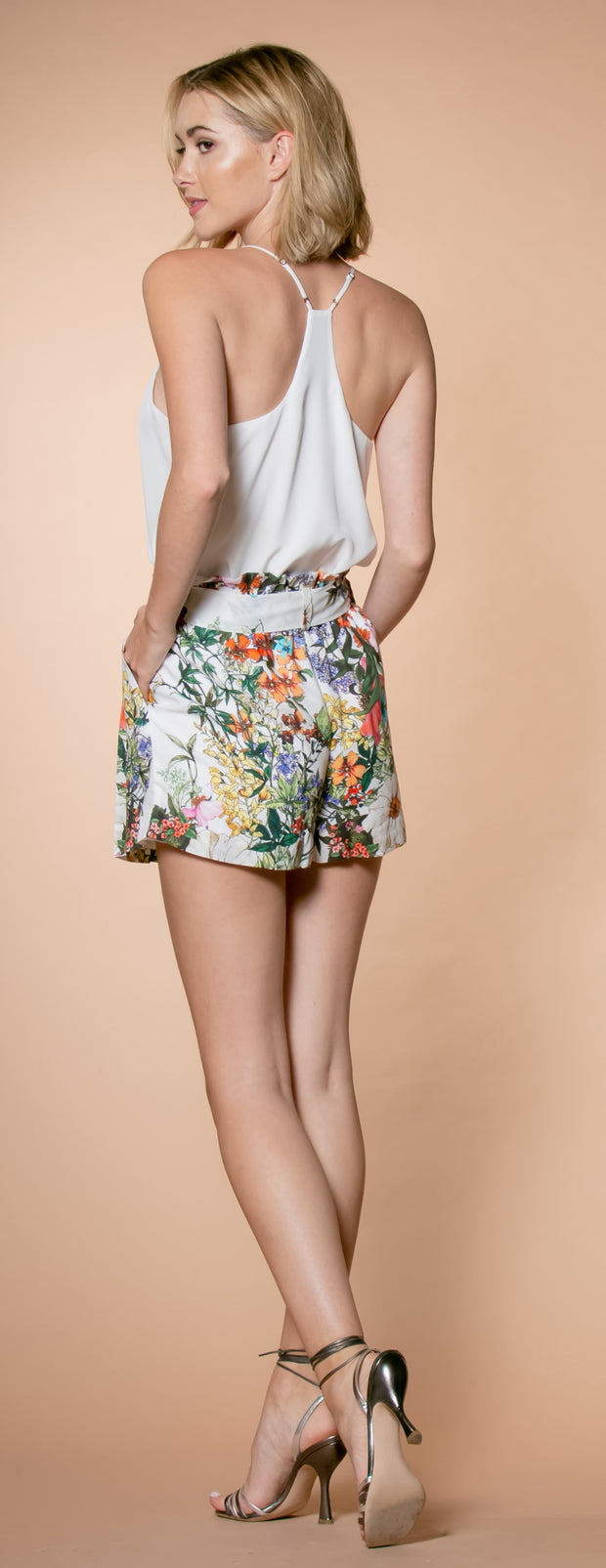Ivory Floral Paperbag Shorts by Lavender Brown 002