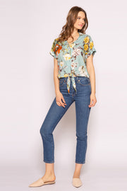Aqua Multi Floral Tie Waist Button Down Top by Lavender Brown 001