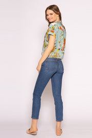 Aqua Multi Floral Tie Waist Button Down Top by Lavender Brown 002
