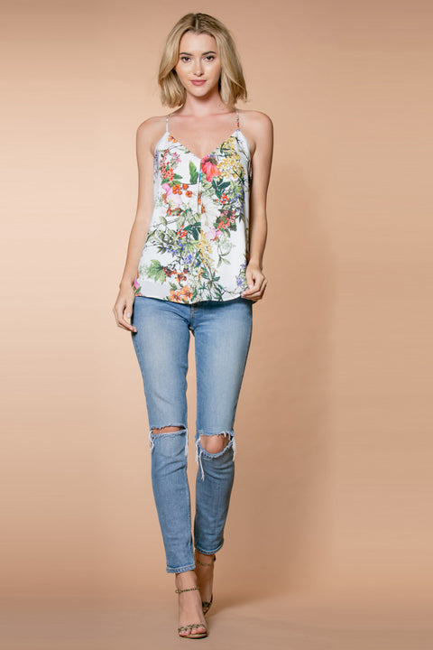 Ivory Rayon Floral Cami Top by Lavender Brown 001