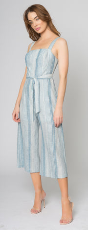 Blue Striped Sleeveless Jumpsuit by Lavender Brown 001