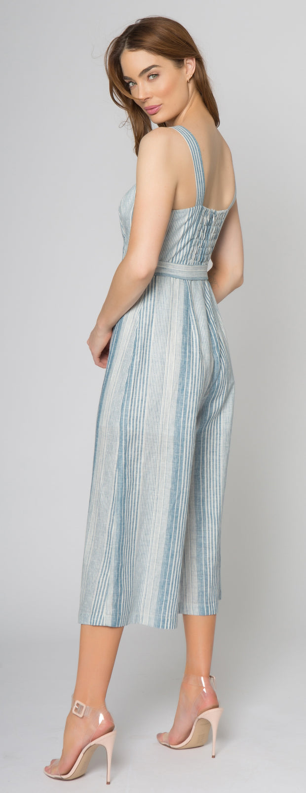 Blue Striped Sleeveless Jumpsuit by Lavender Brown 002