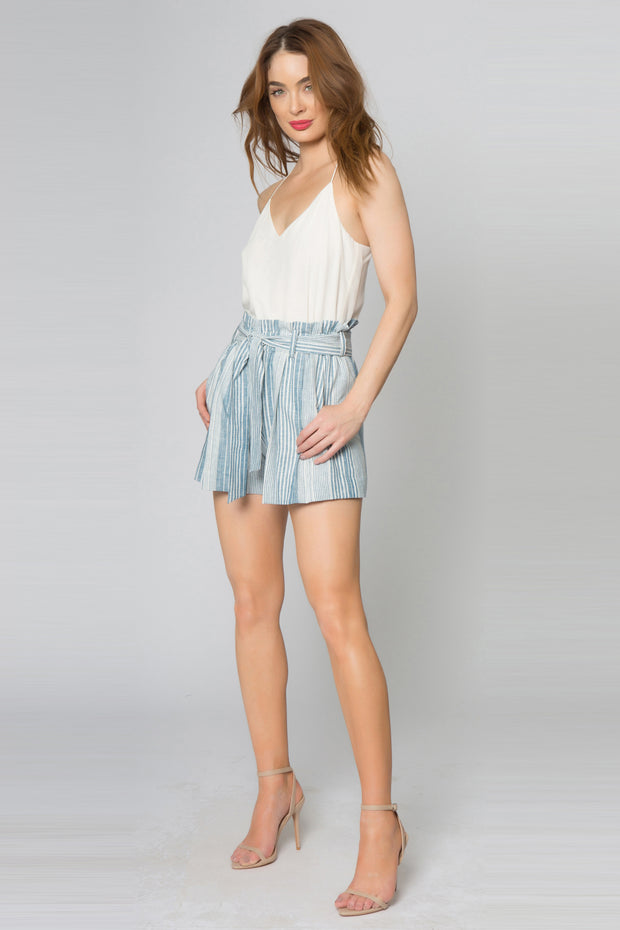 Blue Striped Linen Paperbag Shorts by Lavender Brown 001