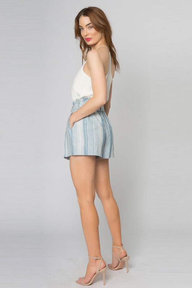 Blue Striped Linen Paperbag Shorts by Lavender Brown 002