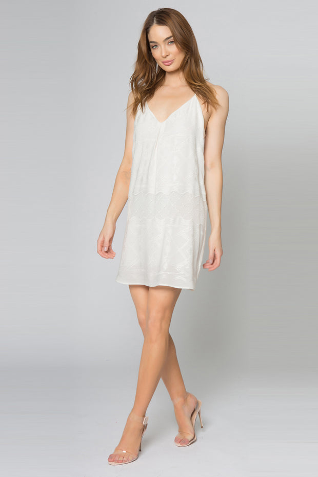 Ivory Racerback Embroidered Mini Dress by Lavender Brown 001