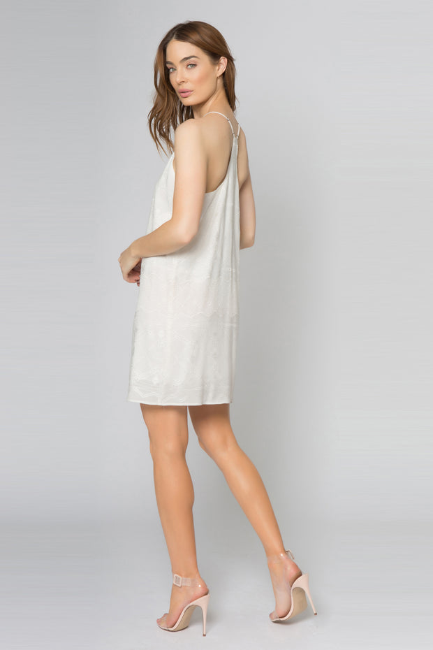 Ivory Racerback Embroidered Mini Dress by Lavender Brown 002