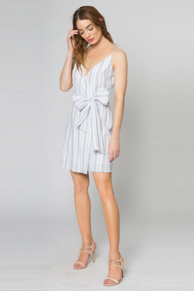 Blue Striped Linen Wrap Dress With Tie Waist by Lavender Brown 001