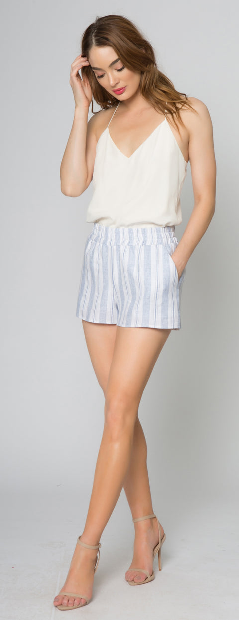 Blue Striped Linen Shorts With Pockets by Lavender Brown 001