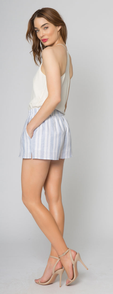 Blue Striped Linen Shorts With Pockets by Lavender Brown 002