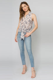 Blush Snakeskin Button Down Tank Top With Tie Waist by Lavender Brown 001