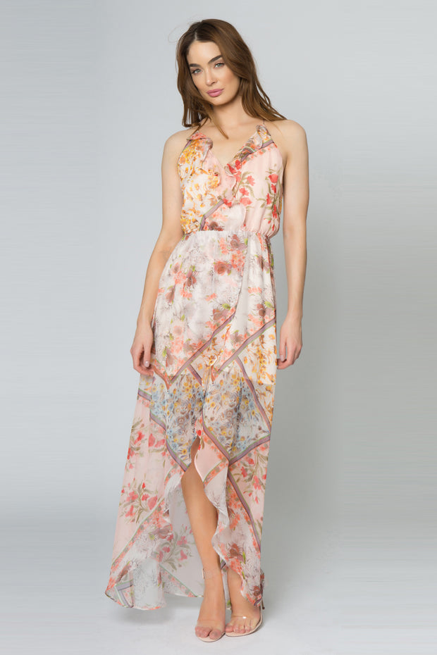 Peach Sleeveless Floral Wrap Maxi Dress by Lavender Brown 001