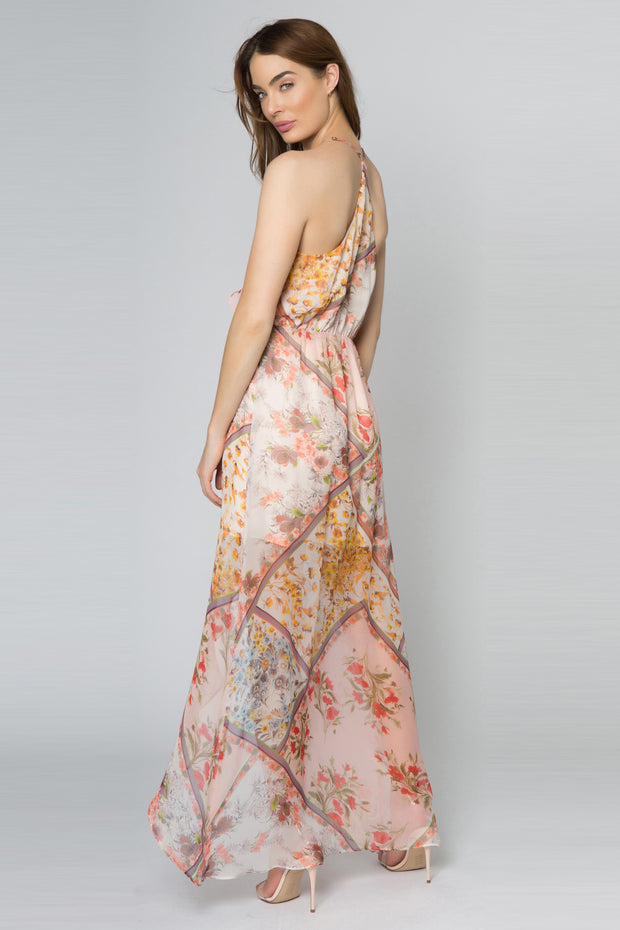 Peach Sleeveless Floral Wrap Maxi Dress by Lavender Brown 002