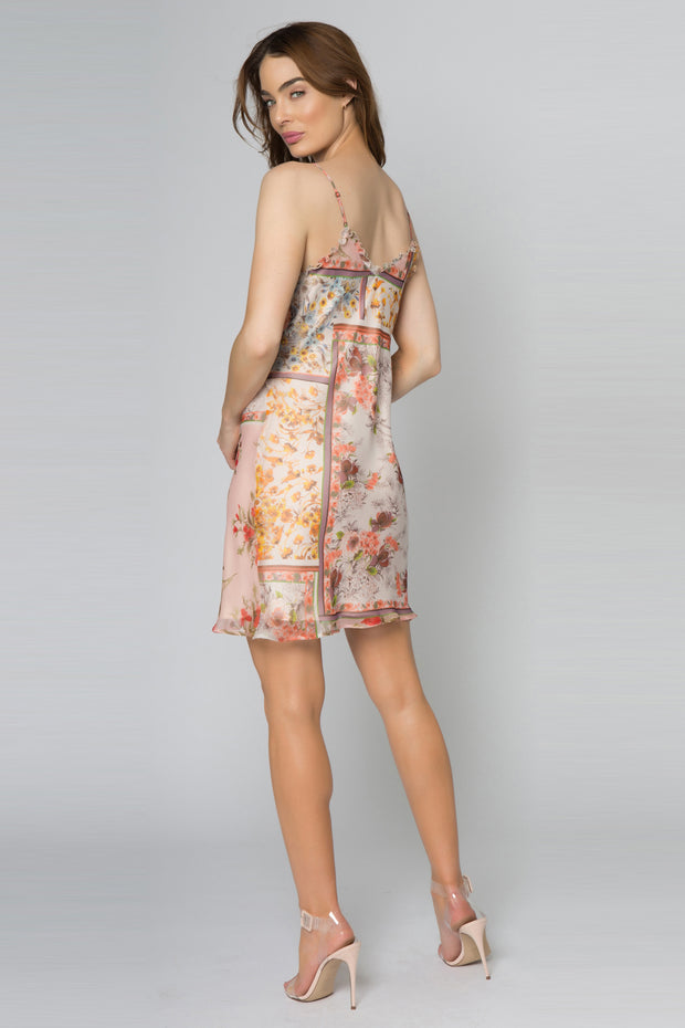Peach Floral Cami Slip Dress With Ruffles by Lavender Brown 002