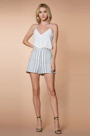 Blue Striped High Waist Linen Shorts by Lavender Brown 001