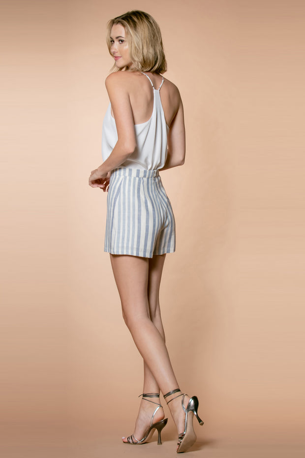Blue Striped High Waist Linen Shorts by Lavender Brown 002