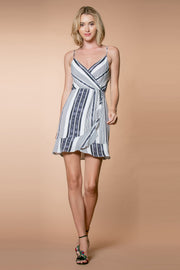 Striped Ruffle Wrap Dress Front