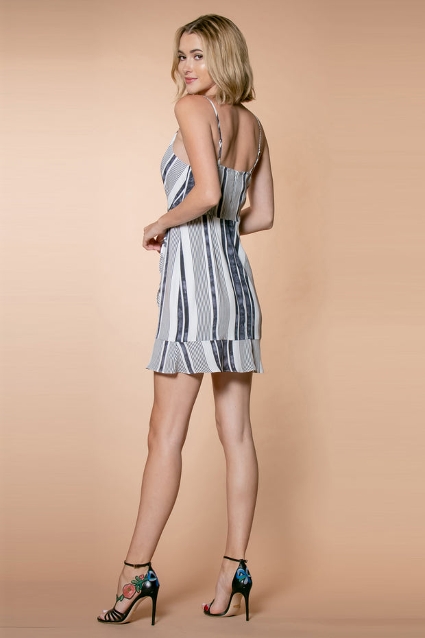 Striped Ruffle Wrap Dress Back