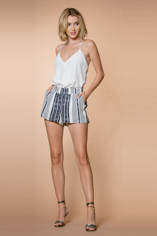 Black Striped Rayon Pull-On Shorts by Lavender Brown 001