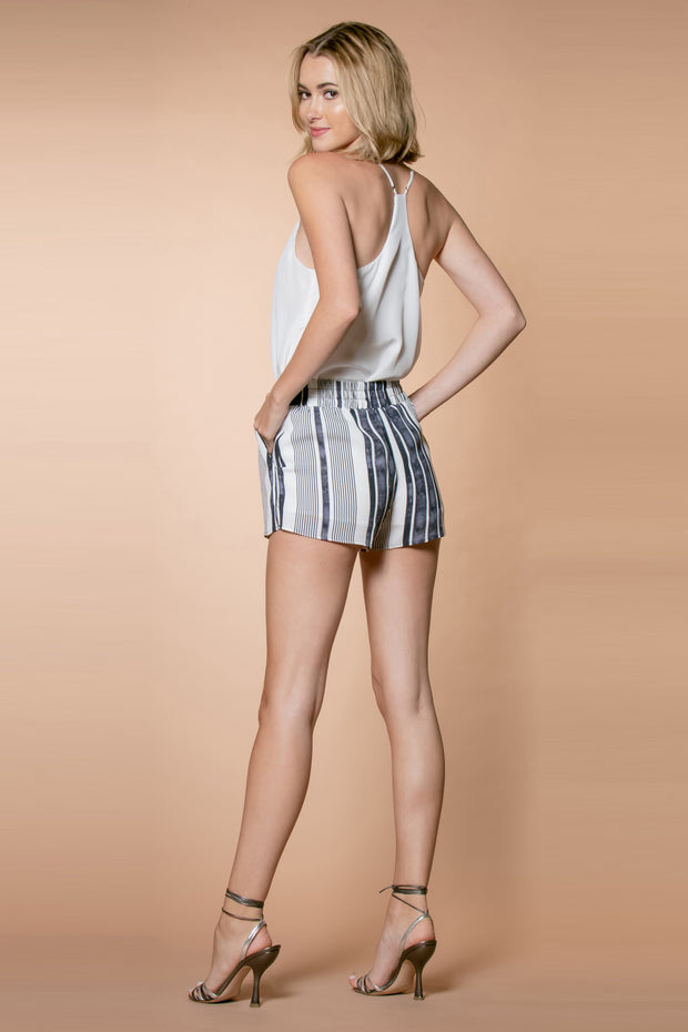 Black Striped Rayon Pull-On Shorts by Lavender Brown 002