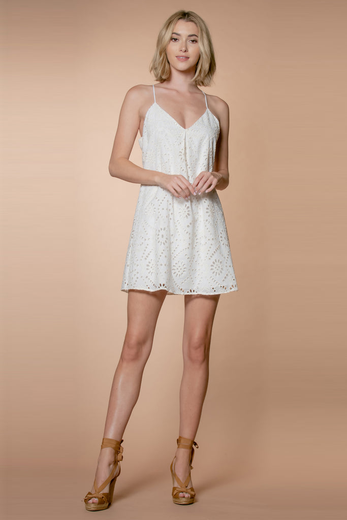 Ivory Cotton Eyelet Embroidered Shift Dress by Lavender Brown 001