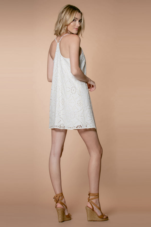 Ivory Cotton Eyelet Embroidered Slip Dress by Lavender Brown 002