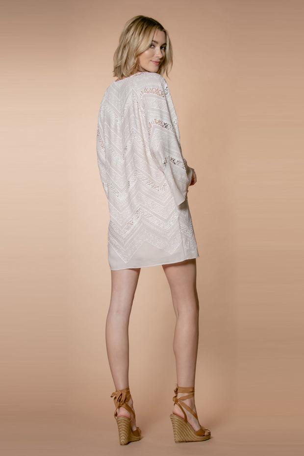 Taupe Bell Sleeve Crinkle Crochet Embroidered Shift Dress by Lavender Brown 002