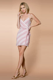 Red Striped Spaghetti Strap Wrap Dress by Lavender Brown 001