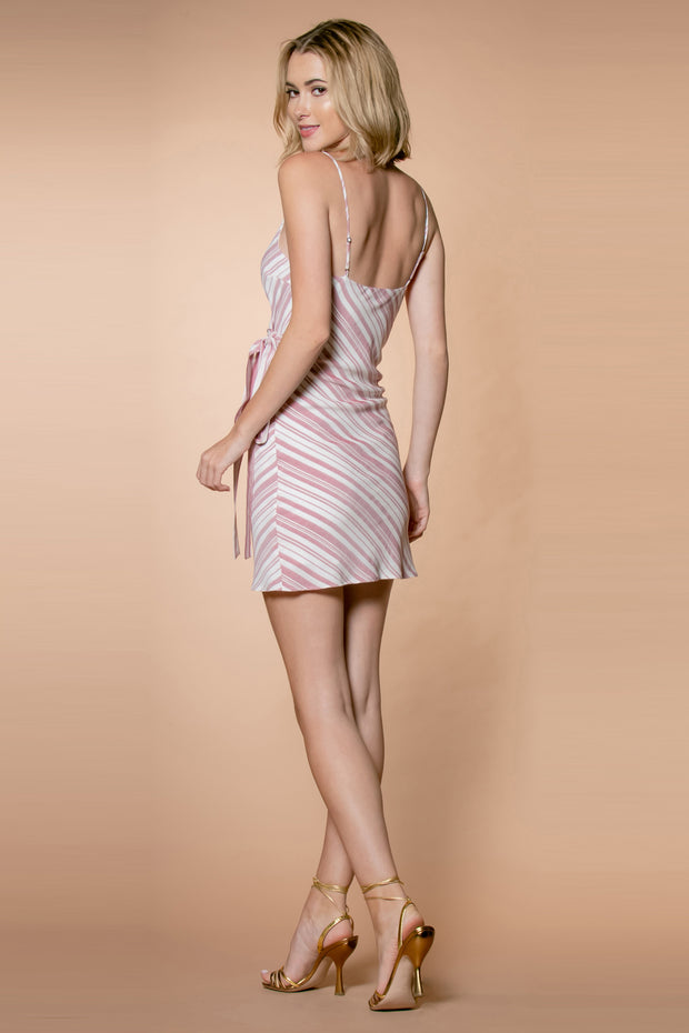 Red Striped Spaghetti Strap Wrap Dress by Lavender Brown 002