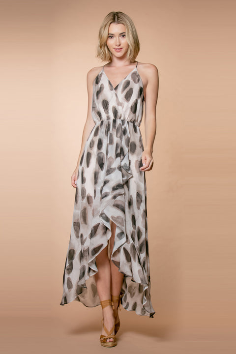 Brown Animal Print Sleeveless Maxi Dress 001