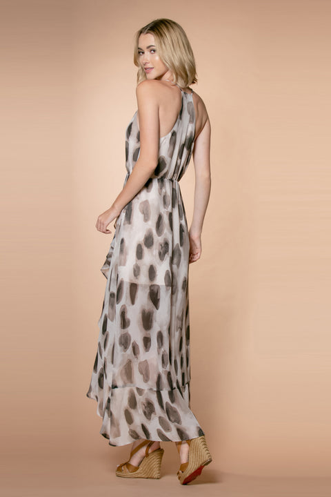 Brown Animal Print Sleeveless Maxi Dress 002