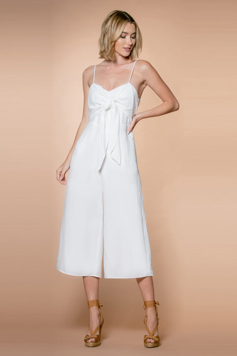 Ivory Sleeveless Bow Tie Jumpsuit by Lavender Brown 001