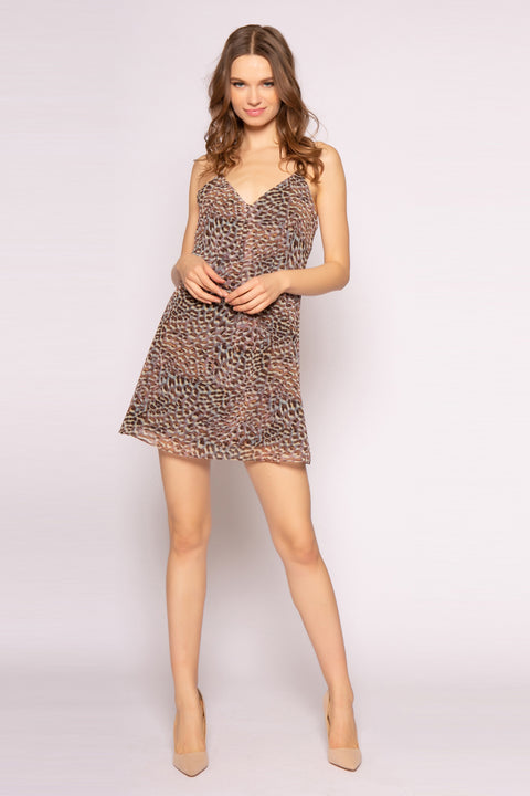 Brown Sleeveless Cheetah Mini Dress by Lavender Brown 001