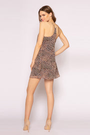 Brown Sleeveless Cheetah Mini Dress by Lavender Brown 002