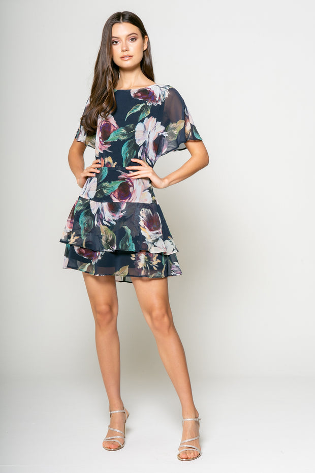 Water Color Printed Fit and Flare Tier Dress 1