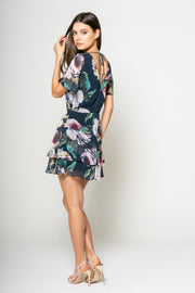 Water Color Printed Fit and Flare Tier Dress 2