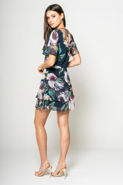 Water Color Printed Fit and Flare Tier Dress 3